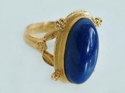 Massiver Goldring 750 im Antiklook Ring Gold 18 kt großer Lapis Lazuli Damenring
