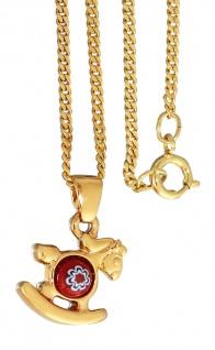 Goldkette und Anhänger Schaukelpferd vergoldet - Panzerkette Gold pl - Goldkette