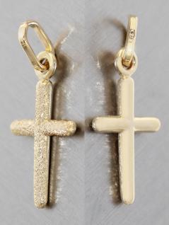 Kleines Kreuz Gold 585 diamantiert- Anhänger Goldkreuz zur Taufe od. Kommunion