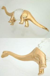 Vergoldeter Dinosaurier mit großem facettiertem Kristall Sammelstück Zoofigur
