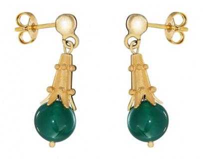 Ohrhänger Silber 925 Ohrstecker vergoldet mit Achat grün Ohrschmuck Damen