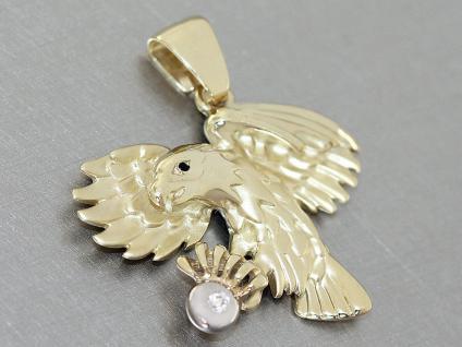 Adler Anhänger - Goldanhänger 750 mit Zirkonia - Anhänger Adler Gold 18 kt
