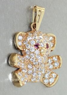 Teddybär Anhänger Gold 585 mit Zirkonias und Rubinen Goldanhänger 14 Karat