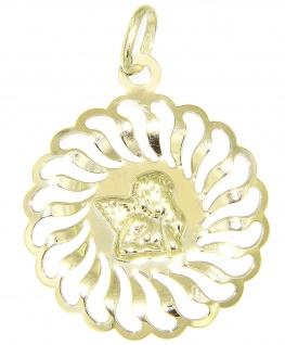 Schutzengel Anhänger Gold 585 / 14 Karat großer runder Kettenanhänger
