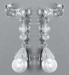 Luxus Ohrhänger Weißgold 585 mit Perle u. Zirkonias Weißgoldohrringe 14 kt Gold