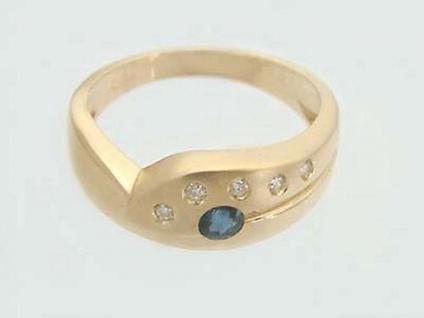 Super Design Goldring 585 und Brillanten und Saphir Ring Gold 14 kt Brillantring