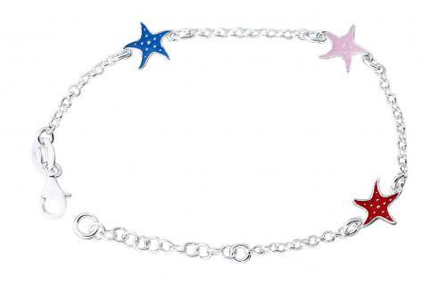 Kinder Armband Silber 925 mit bunten Seesternen Silberarmband Armkette Mädchen