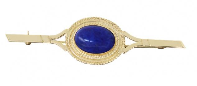 Brosche Gold 750 Lapis Lazuli Goldbrosche 18 Karat Damen Lapislazuli Cabochon