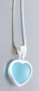 Schlangenkette Silber 925 Herz Anhänger hellblau Silberkette massiv Karabiner