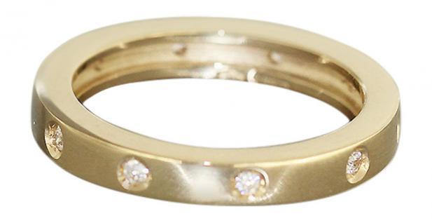Memoryring Gold 585 massiv mit Zirkonia - Goldring 14 kt - Bandring - Damenring