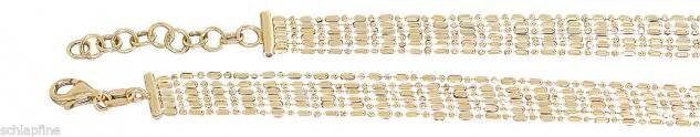 Collier Sterlingsilber 925 Gelbgold vergoldet Silberkette 6-reihig Karabiner