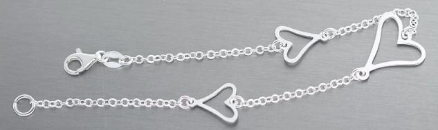 Feines Silberarmband 925 mit Herzen massives Armband Silber Armkette Herz