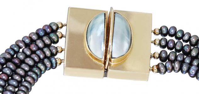 Perlenkette 4 reihig aufwändiger Goldverschluss 585 Collier mit Perlen 14 Kt