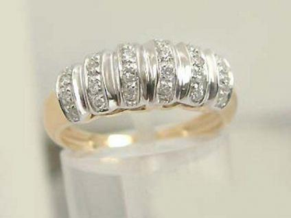 Brillantring Goldring 585 mit 24 Brillanten 0, 24 ct. Ring Zweifarbengold 585