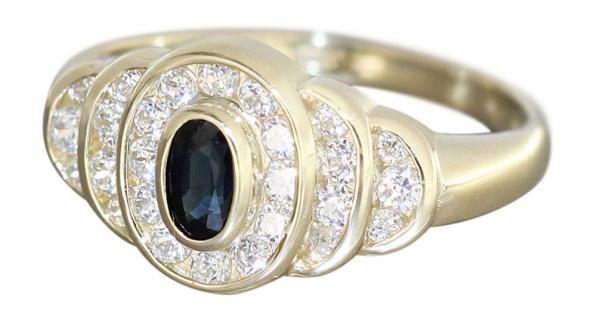 Eleganter Goldring 585 mit Saphir und Zirkonias edler Ring Gold Damenring 14kt