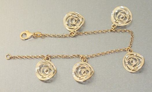 Massives Armband Silber 925 Gold Bettelarmband Silberarmband vergoldet Anhänger