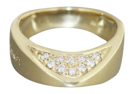 Goldring 585 mit Zirkonias - 7, 4 gr. Designer Ring Gold 14 kt - Damenring