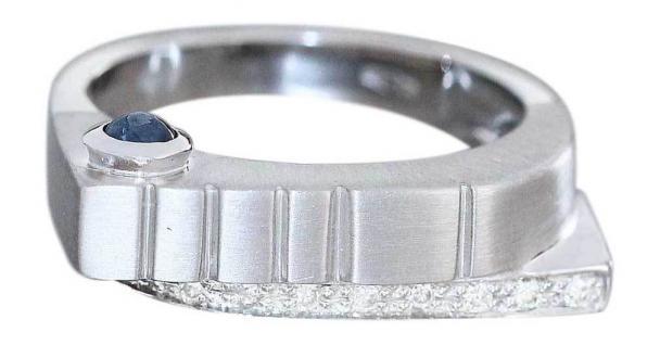 Luxus Weißgoldring 585 Brillantring mit Saphir - Ring Weißgold 14 kt