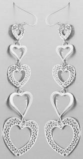 Ohrhänger Silber 925 Herzen 10 cm langer Ohrschmuck Ohrstecker Sterlingsilber