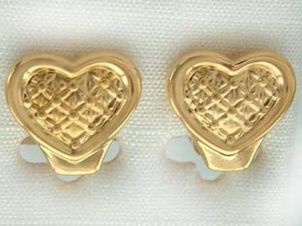 Herz Ohrclips Gold Herzen Ohrschmuck vergoldet Ohrringe Gold pl