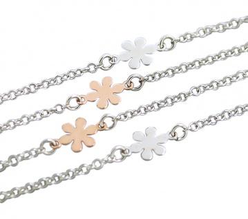 90 cm lange Silberkette 925 mit Blumen Silber Rotgold Kette Collier Halskette