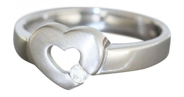 Ring Weißgold 750 mit Herz und Zirkonia Ring Gold - Damenring 18 kt Weißgoldring