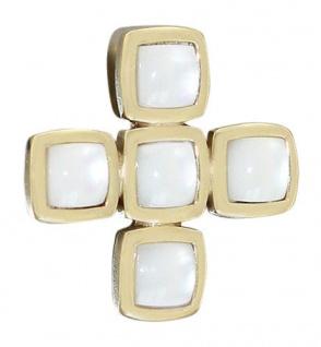 Anhänger gleichschenkeliges Kreuz Gold 585 Goldanhänger mit Perlmutt Quadraten