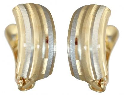 Klappcreolen Gold 585 bicolor Ohrringe Ohrschmuck Gold 14 Karat Damen Mädchen