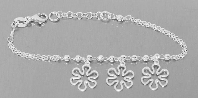 Armband Silber 925 Blumen Anhänger Armkette Damen Mädchen Kinder Bettelarmband