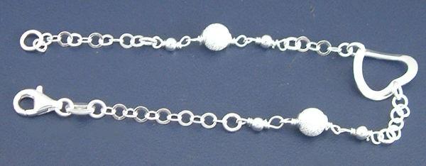 Modernes Silberarmband 925 Armband mit Herz & funkelnden Kugeln Armkette Silber
