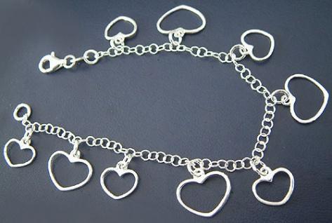 19 cm Bettelarmband Silberarmband 925 Herz Armband Silber Armkette Herzen