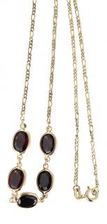 42 cm Goldkette 585 mit Granaten Collier mit Granat - Halskette Kette Gold 14 kt