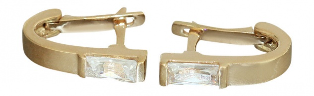 Super Klappcreolen Gold 585 Ohrringe mit Zirkonia Goldohrringe 14 kt Creolen