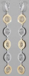 10 cm Superlange Ohrhänger Silber 925 Gold bicolor Ohrringe langer Ohrschmuck
