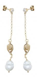 Ohrstecker Gold 585 mit Perlen langer Ohrschmuck Goldohrstecker Ohrringe