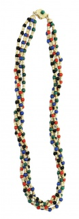Collier Gold 750 Koralle Lapis Onyx Malachit Goldkette massiv 68 gr Halskette