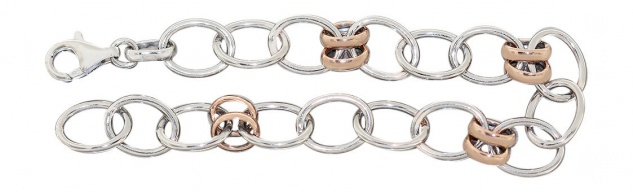 Armkette Silber 925 rhodiniert Armband große ovale Glieder Rotgold Silberarmband