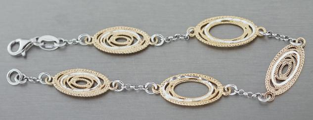 Massives Armband Silber 925 Gold Silberarmband vergoldet ovale Glieder Armkette