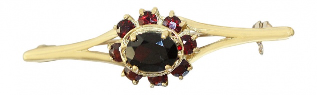 Granat Brosche Gold 750 / 18 Karat Goldbrosche