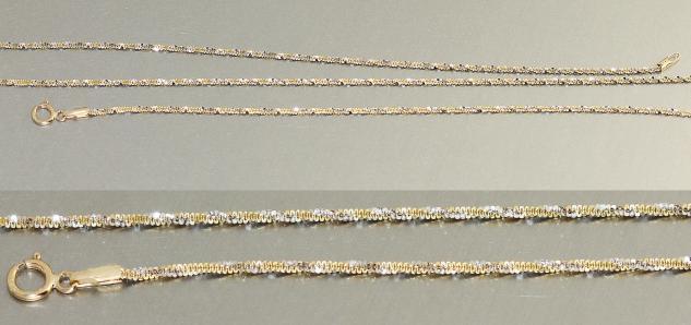 45 cm Goldkette 585 funkelnde Goldkette - Collier - Kette Gold - Halskette 14 kt