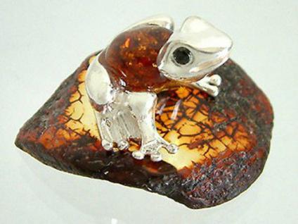Silberfrosch 925 mit Bernstein Sammelfigur Silber Frosch Wer küsst mich?