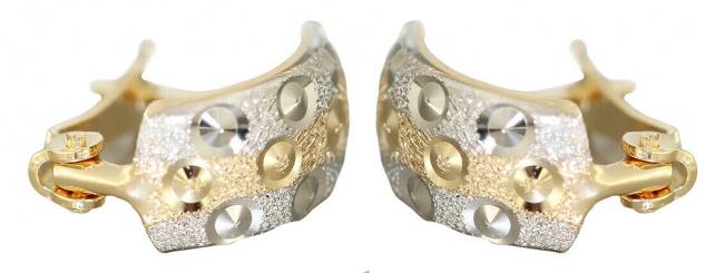 Creolen Gold 585 bicolor Ohrringe Halbcreolen Gold 14 Karat Damen Mädchen