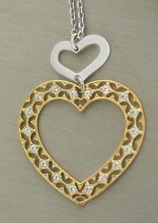 Massive Silberkette 925 und großer Herz Anhänger vergoldet Kette Gold Silber