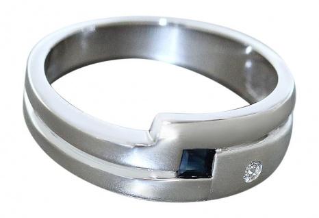 Moderner Weißgoldring 585 mit Saphir u. Zirkonia Ring Damenring Weißgold 14 Kt.