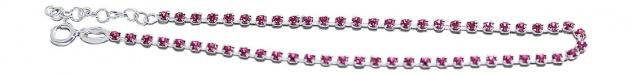 Fußkettchen Silber 925 Zirkonias pink weiß hellblau schwarz multicolor Fußkette