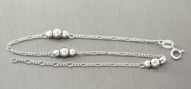 Fußkette Silber 925 trendy Fußkettchen mit Kugeln Silberkette Kugelkette