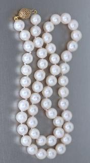 45 cm lange echte Perlenkette mit Kugelverschluss Gold 585 / 14 Karat - Perlen