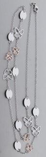 80 cm lange Silberkette 925 mit Schmetterling Kette Silber Rotgold Halskette