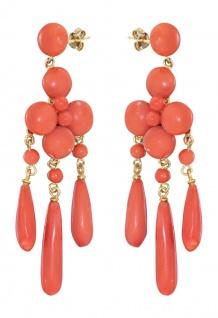 Elegante lange Ohrhänger Gold 750 mit Korallen Ohrstecker Koralle Ohrringe 18 Kt