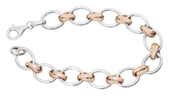 Armband Silber 925 bicolor Rotgold vergoldet ovale Glieder Armkette Karabiner